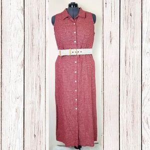 Vintage 90s Red Plaid Linen Button Down Maxi Dress